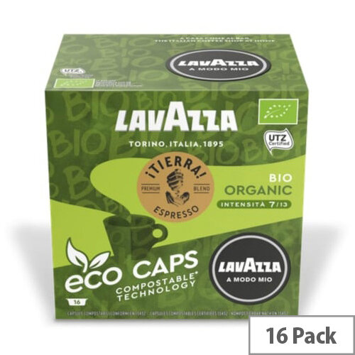Lavazza Modo Mio TIERRA BIO COMPOSTABLE Eco Coffee Capsules Pack of 16 Pods (Min. Order Qty - 2)