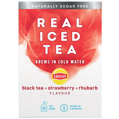Lipton Cold Brew Black Tea Strawberry and Rhubarb Pack of 15 67737988