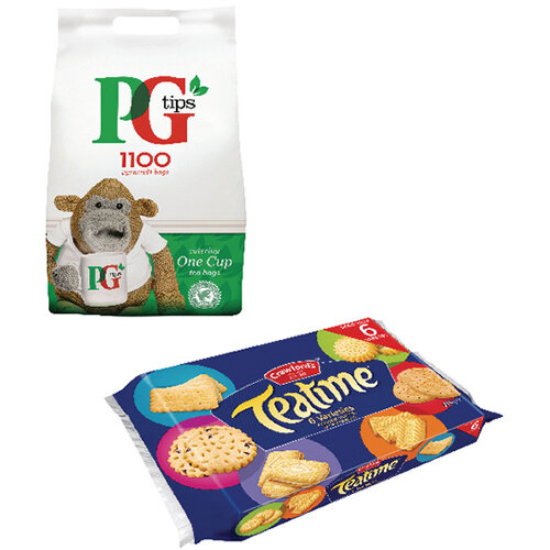 PG One Cup Pyramid Tea Bags Pack of 1100 Plus Free Biscuits VF819645