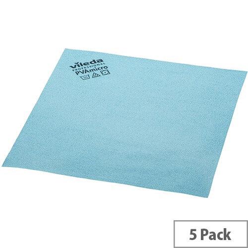Vileda PVA Microfibre All Purpose Cleaning Cloths Blue Pack 5 143585