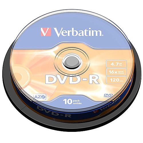 photograph regarding Verbatim Cd R Printable identify Verbatim DVD-R 16X Non-Printable Spindle Pack of 10 43523