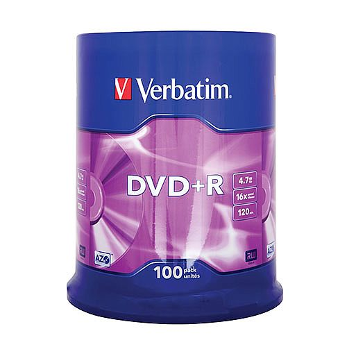 Verbatim DVD+R 16X Non-Printable Spindle Pack of 100 43551