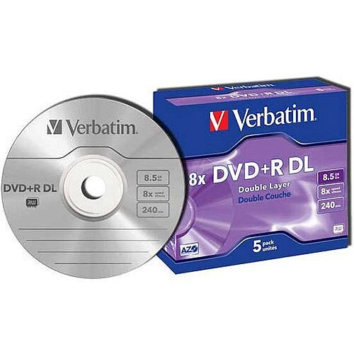 photo relating to Verbatim Cd R Printable identify Verbatim DVD+R 8X Double Layer Non-Printable Pk 5 43541