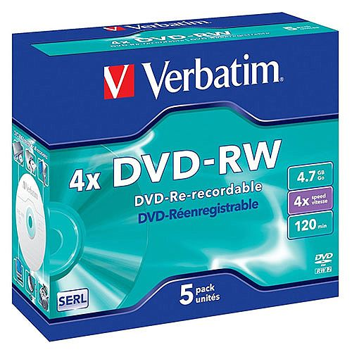 Verbatim DVD-RW 4X 4.7Gb Pack of 5 43285