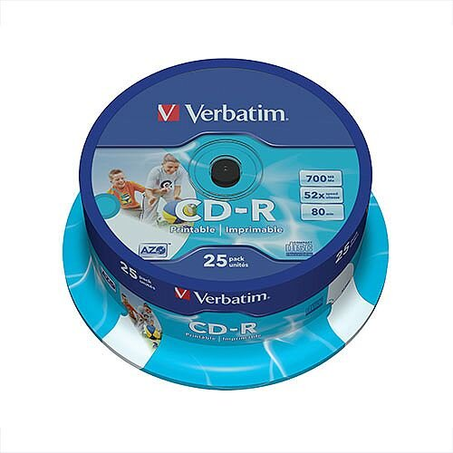 Verbatim CD-R Printable 700Mb/80minutes 52X Pack of 25