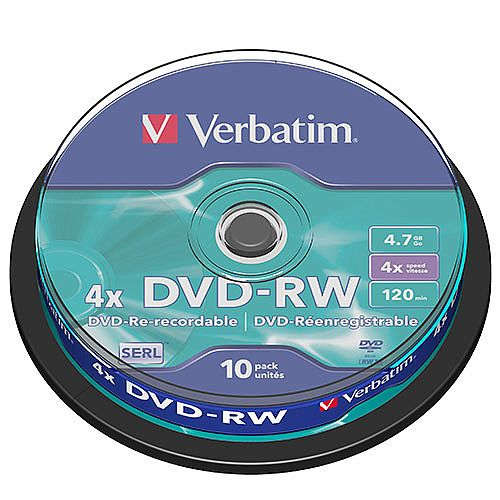 Verbatim DVD-RW 4x Pack 10 Spindle 43552