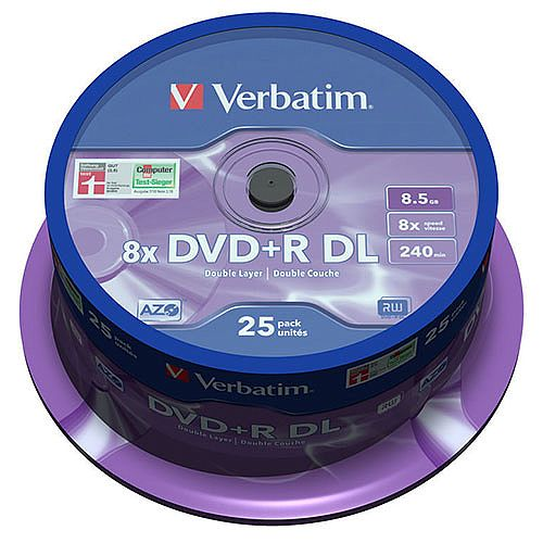 Verbatim DVD+R Double Layer 8x Matt silver 25 pack Spindle 43757