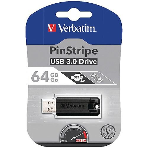 Verbatim Black Pinstripe 64GB USB 3.0 Flash Drive 49318
