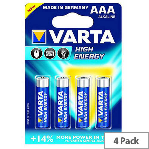 VARTA AAA High Energy Battery Alkaline (Pack of 4)