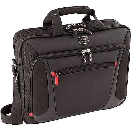 Wenger Sensor 15in MacBook Pro Briefcase with iPad Pocket - Easy-access front zippered pocket - Adjustable padded shoulder strap &double soft grip handles &trolley strap - lockable zippers - 600643