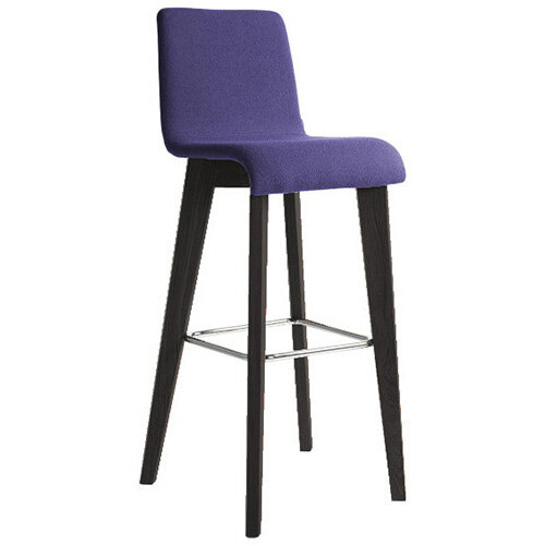 Frovi JIG Upholstered Canteen Stool With Black Oak 4 Leg Wooden Frame &Chrome Foot Ring H1050xW460xD530mm 820mm Seat Height - Fabric Band C
