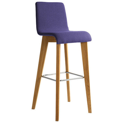 Frovi JIG Upholstered Canteen Stool With Natural Oak 4 Leg Wooden Frame &Chrome Foot Ring H1050xW460xD530mm 820mm Seat Height - Fabric Band H