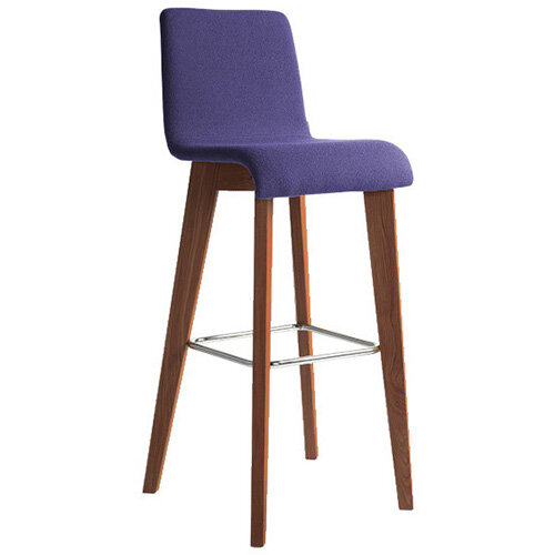 Frovi JIG Upholstered Canteen Stool With Stained Walnut 4 Leg Wooden Frame &Chrome Foot Ring H1050xW460xD530mm 820mm Seat Height - Fabric Band E