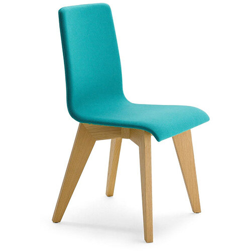 Frovi JIG Upholstered Canteen Chair With Natural Oak 4 Leg Wooden Frame H880xW430xD530mm 460mm Seat Height - Fabric Band H