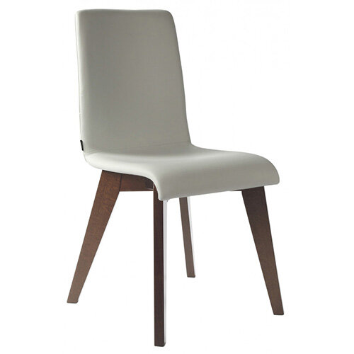 Frovi JIG Upholstered Canteen Chair With Stained Walnut 4 Leg Wooden Frame H880xW430xD530mm 460mm Seat Height - Fabric Band C