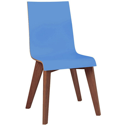 Frovi JIG 2-TONE 4 Leg Wooden Frame Canteen Chair Stained Walnut H880xW430xD530mm 460mm Seat Height