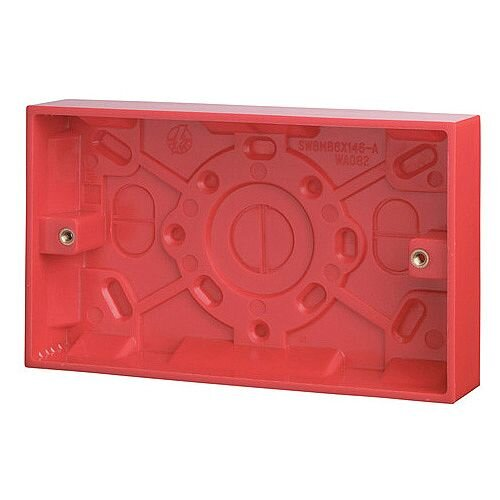 Red 25mm Deep Double Gang Box