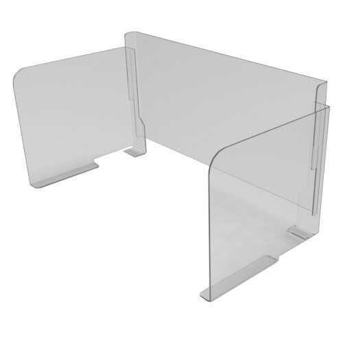 Pro-Tech Viral Plexiglass Desk Guard Screen with Straight Edge with Full Back - For Use with Desk Width 1600mm