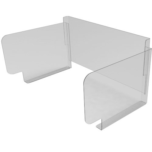 Pro-Tech Viral Plexiglass Desk Guard Screen with Wing Edge with Full Back - For Use with Desk Width 1500mm