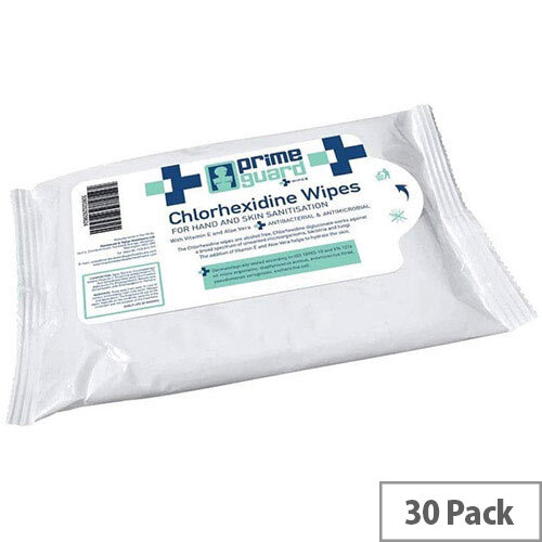 PrimeGuard Chlorhexidine Anti-bacterial Hand Wipes 25 Wipes Per Pack (30 Pack)