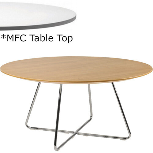 Frovi WIRE Round Coffee Table With Raw Steel WIRE Frame &MFC Top Dia600xH420mm - Minimalist Design MFC Melamine Surface