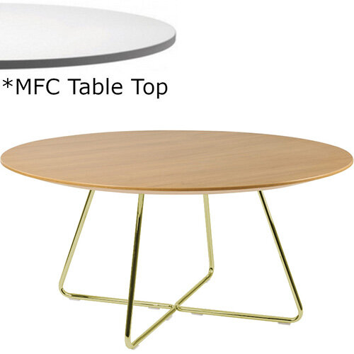 Frovi WIRE Round Coffee Table With Vintage Brass WIRE Frame &MFC Top Dia800xH420mm - Minimalist Design MFC Melamine Surface