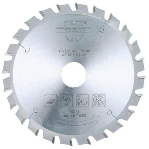 Wurth UNI-Top Circular Saw Blade - BLDE-CRCLSAW-WO-TC-VT-160X24X20 Ref. 0611616024