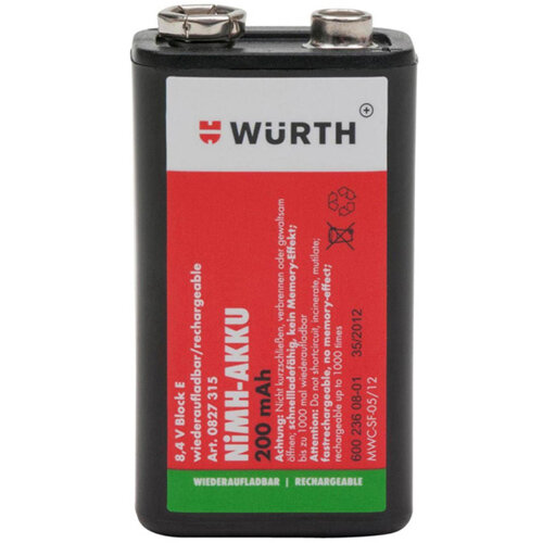 Wurth Pre-charged NiMH Battery - BTRY-NIMH-BLOCK-PRECHARGED-8,4V-200MAH Ref. 0827315