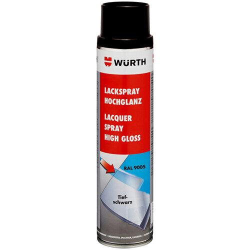 Wurth Paint Spray, High Gloss - PNTSPR-R9005-JETBLACK-600ML Ref. 0893339005