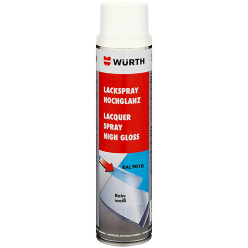 Wurth Paint Spray, High Gloss - PNTSPR-R9010-PUREWHITE-600ML Ref. 0893339010 PACK OF 6