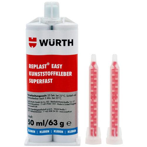 Wurth Plastic Adhesive REPLAST Easy Superfast - ADH-PLA-2C-SUPERFAST-50ML Ref. 08935005 PACK OF 6