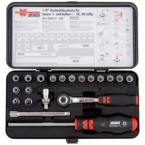 Wurth 1/4 inch Socket Wrench Assortment - SKTWRNCH-SET-1/4IN-TX-20PCS Ref. 096511 180