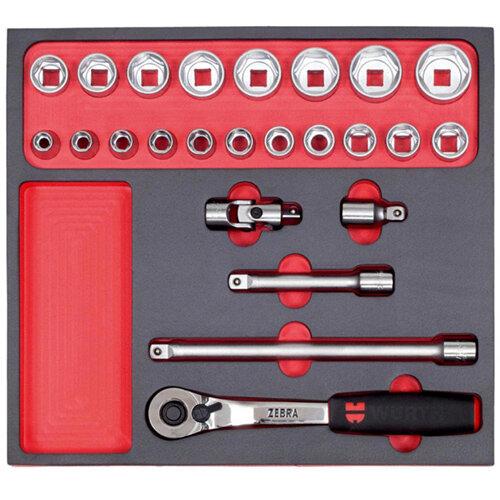Wurth 1/2 inch Socket Wrench Assortment - SKTWRNCH-SET-1/2IN-FOAM-24PCS Ref. 0965900945