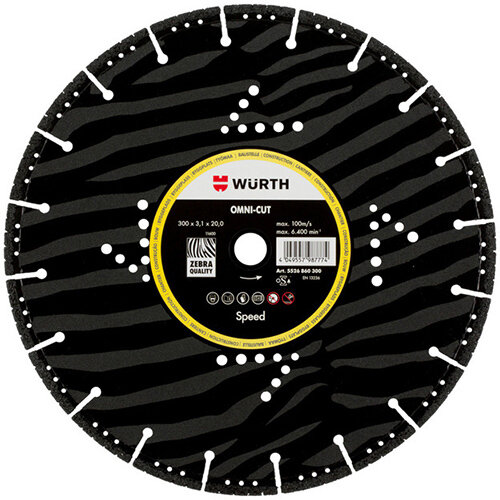 Wurth Speed Omni-Cut diamond Cutting Disc, Construction Site - CUTDISC-DIA-SP-OMNICUT-BR20,0-D300MM Ref. 5526860300