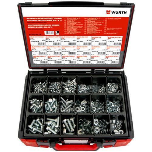 Wurth Hexagonal Bolts / Hexagon Nuts / Flat Washer / Lock Washer Assortment - SCR/NUT-HEX-SYSKO-WSH-(A2K)-890PCS Ref. 5964005704