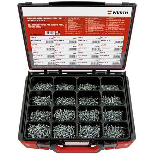 Wurth Tapping Screws Pan Head DIN 7981 zinc-plated Assortment - SCR-SHTMET-SYSKO-DIN7981-(A2K)-1600PCS Ref. 5964011500