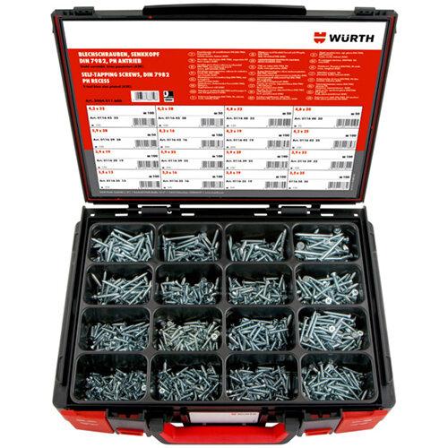 Wurth Tapping Screws Countersunk Head DIN 7982 zinc-plated Assortment - SCR-SHTMET-SYSKO-DIN7982-(A2K)-1400PCS Ref. 5964011600
