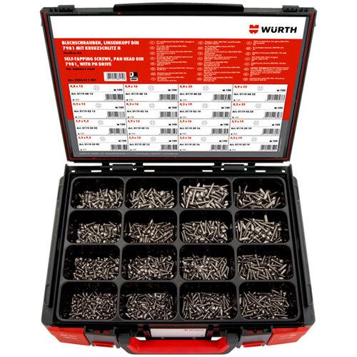 Wurth Tapping Screws Pan Head, DIN 7981 A2 Assortment - SCR-SHTMET-SYSKO-DIN7981-H2-A2-1550PCS Ref. 5964011901