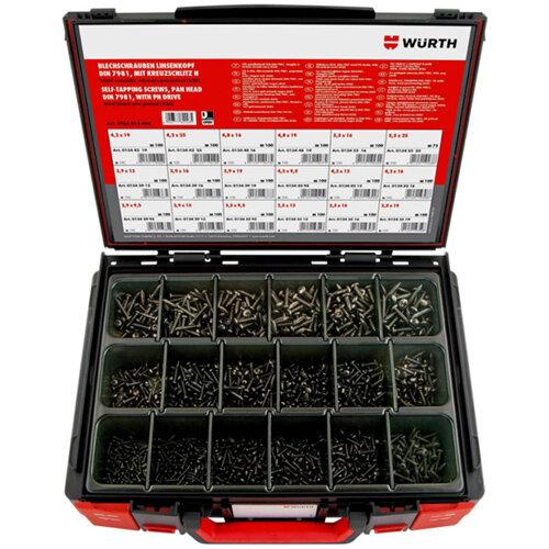 Wurth Tapping Screws Pan Head DIN 7981 Black zinc-plated Assortment - SCR-SHTMET-SYSKO-DIN7981-(A2S)-1775PCS Ref. 5964013400