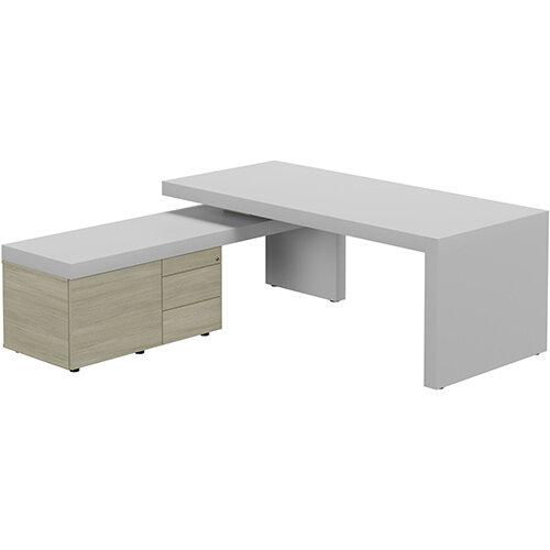 Auttica Light Grey Executive Office Desk with Arctic Oak Left Side Return W2000mm