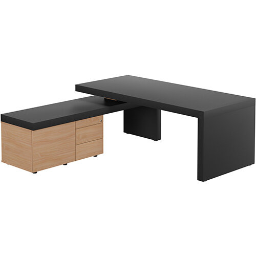 Auttica Anthracite Executive Office Desk with Beech Left Side Return W2000mm