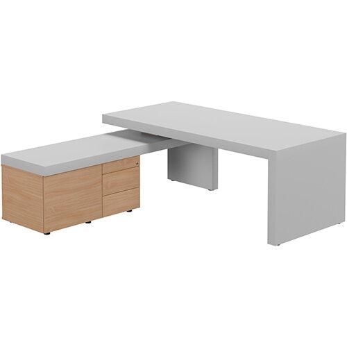 Auttica Light Grey Executive Office Desk with Beech Left Side Return W2000mm