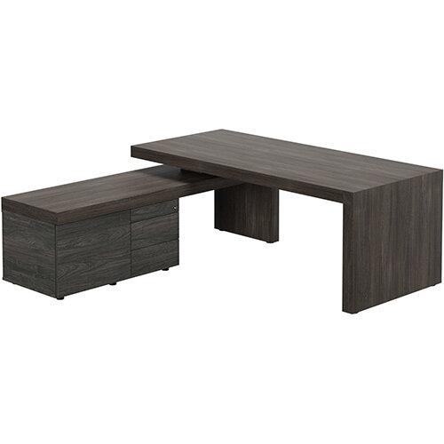 Auttica Dublin Oak Executive Office Desk with Carbon Walnut Left Side Return W2000mm
