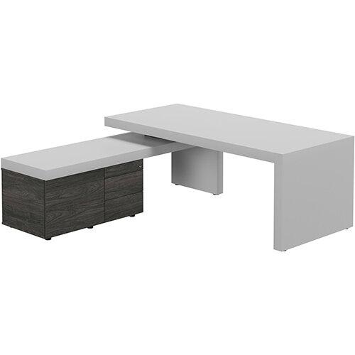 Auttica Light Grey Executive Office Desk with Carbon Walnut Left Side Return W2000mm