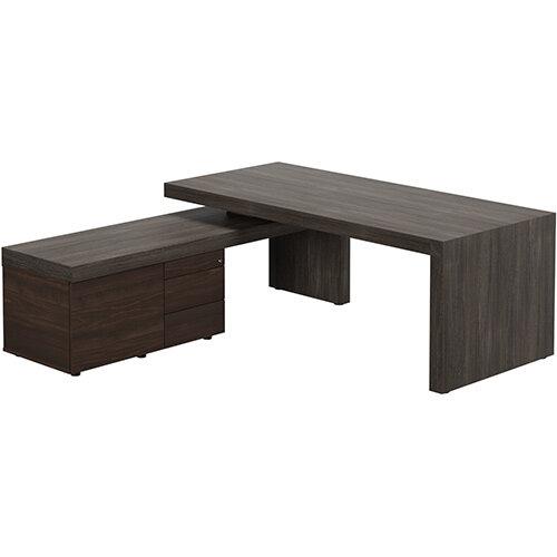Auttica Dublin Oak Executive Office Desk with Dark Walnut Left Side Return W2000mm