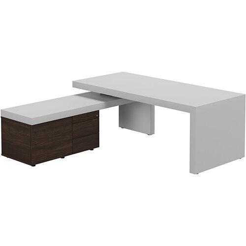 Auttica Light Grey Executive Office Desk with Dark Walnut Left Side Return W2000mm