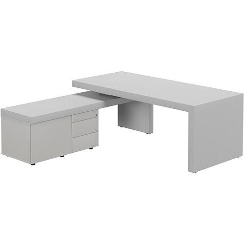 Auttica Light Grey Executive Office Desk with Grey Left Side Return W2000mm