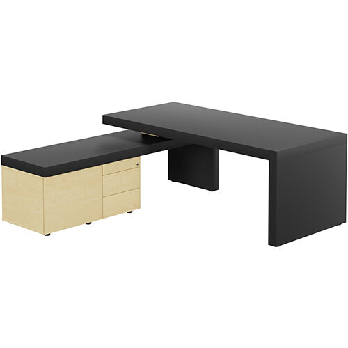 Auttica Anthracite Executive Office Desk with Maple Left Side Return W2000mm