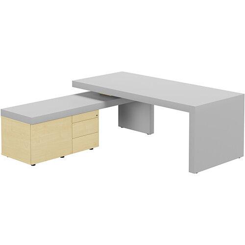 Auttica Light Grey Executive Office Desk with Maple Left Side Return W2000mm