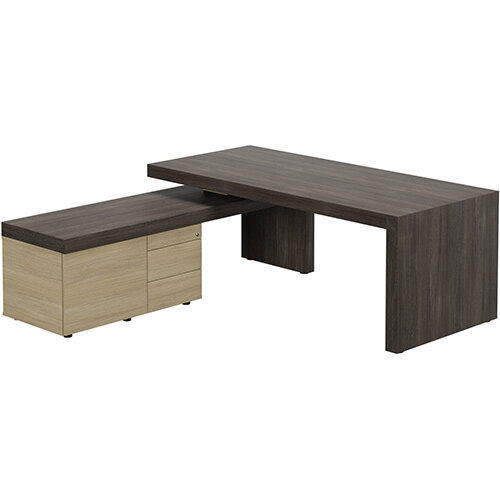 Auttica Dublin Oak Executive Office Desk with Urban Oak Left Side Return W2000mm